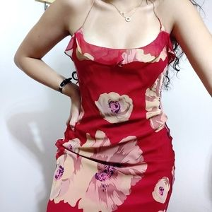 1990 Betsey Johnson Floral Silk Ruffle Dress
